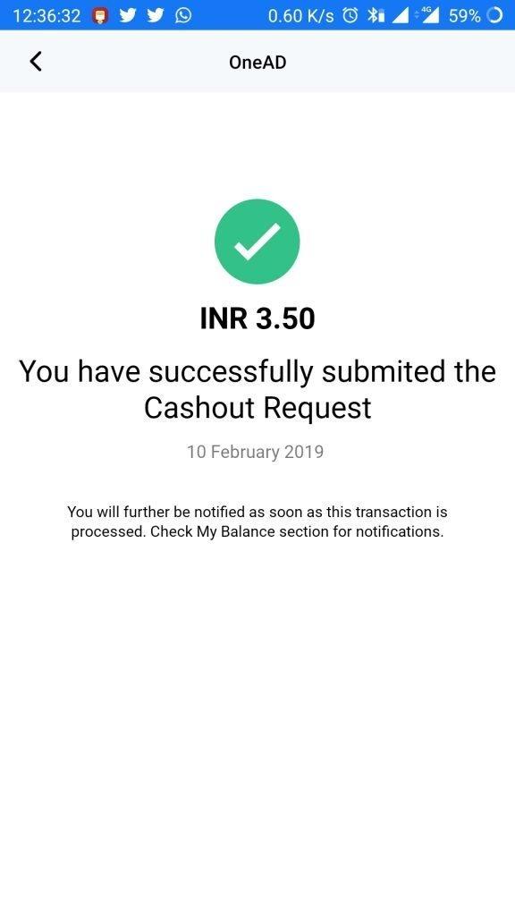 onead app paytm cashout request