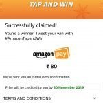 (Over) Amazon Tap And Win – Win OnePlus 7T, Galaxy Note 10, or ₹80 Pay Balance