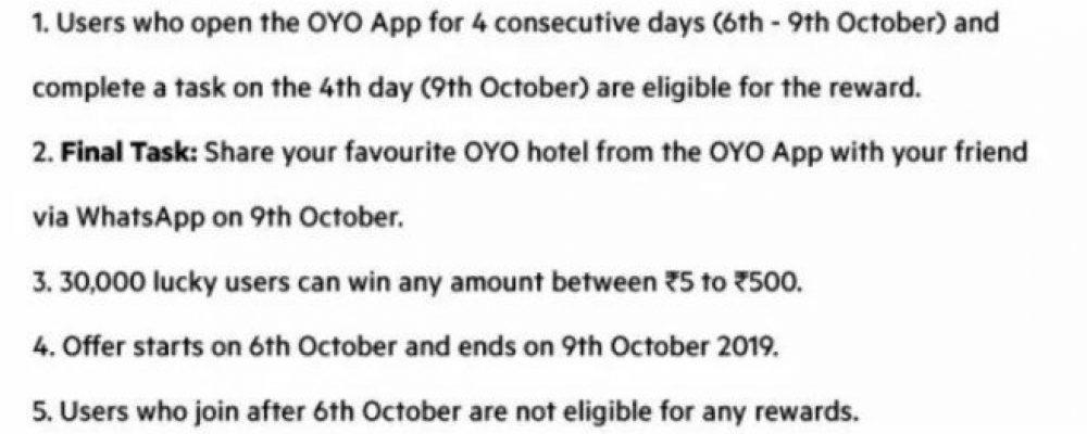 Oyo App – Get Paytm Cash Upto ₹500 for Free
