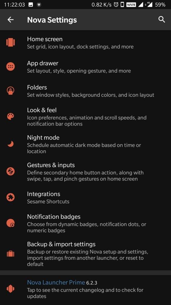 nova launcher prime apk mod settings